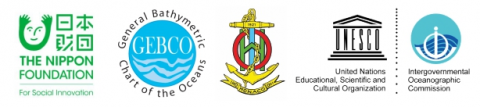 Logos of the Nippon Foundation, GEBCO, International Hydrographic Organization (IHO) and Intergovernmental Oceanographic Commission (IOC) of UNESCO