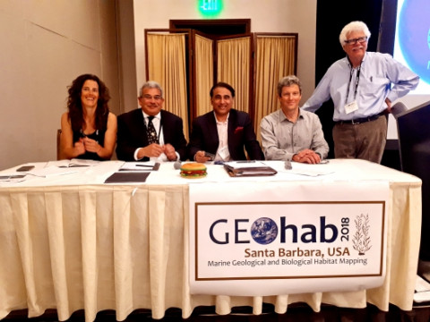 From left to right: Kim Picard, Geoscience Australia; Ed Saade, Fugro; Satinder Bindra, Nippon Foundation-GEBCO Seabed 2030 Project Director; Geoffroy Lamarche, Seabed 2030 South and West Pacific Regional Center Head and Gary Greene, Circum-Pacific Council
