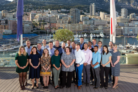 Members of the GEBCO-Nippon Foundation Alumni Team and partners at the International Hydrographic Organization (IHO) in Monaco. The team met with IHO Secretary General Mathias Jonas (front, fifth from right). Credit: Rebecca Marshall