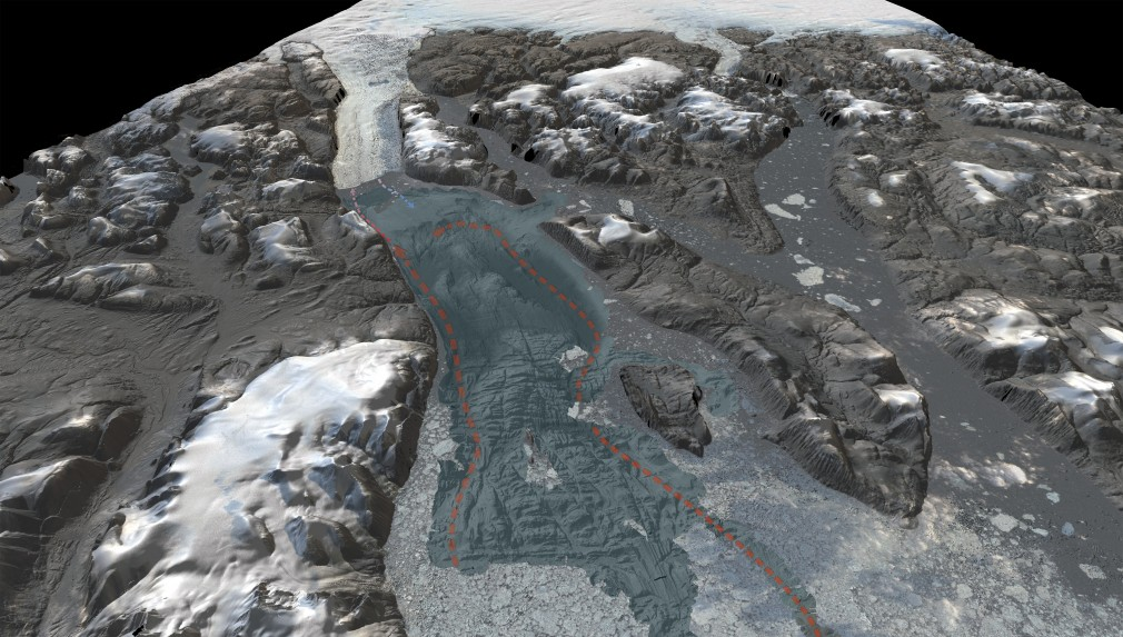 3D-visualization showing the seafloor bathymetry of the previously uncharted Sherard Osborn Fjord