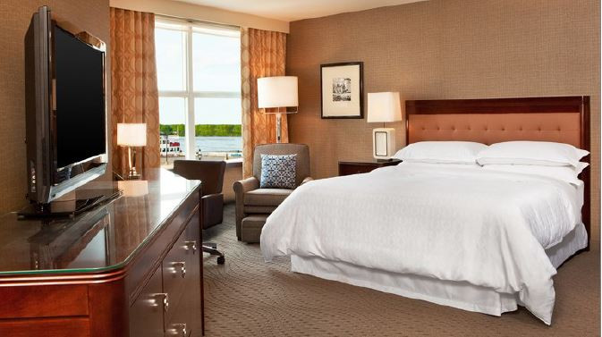 Example Deluxe King Room and the Sheraton Harborside Hotel, Portsmouth, New Hampshire, USA