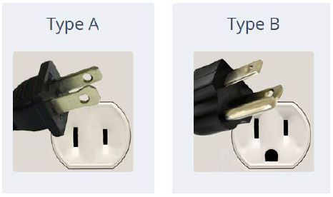 Example elctrical power plugs used in the USA.