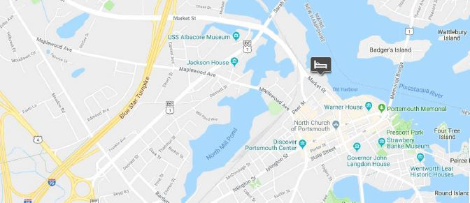 Map of the meeting location in Portsmouth, New Hampshire, USA